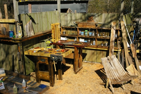 Garden woodworking workshop